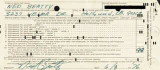 NED BEATTY - DOCUMENT SIGNED 06/08/1976