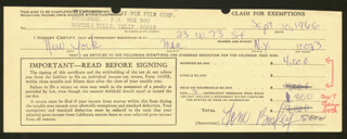 TOM BOSLEY - DOCUMENT SIGNED 09/10/1966