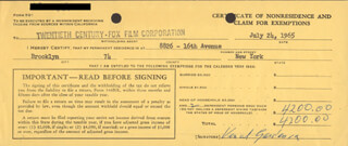 VINCENT GARDENIA - DOCUMENT SIGNED 07/24/1965