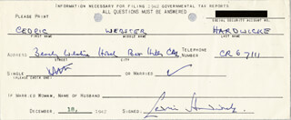 SIR CEDRIC HARDWICKE - DOCUMENT SIGNED 12/18/1942