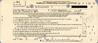 GEORGE E. MARSHALL - DOCUMENT SIGNED 11/09/1973