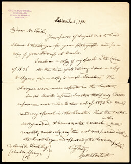 GEORGE S. BOUTWELL - AUTOGRAPH LETTER SIGNED 09/05/1901