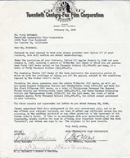 RODDY McDOWALL - DOCUMENT SIGNED 02/11/1946 CO-SIGNED BY: WINEFRED L. McDOWALL, A. W. DEWEESE