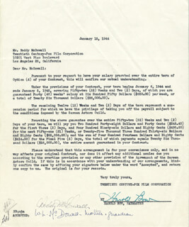 RODDY McDOWALL - CONTRACT SIGNED 01/15/1944 CO-SIGNED BY: HAROLD BOW, WINEFRED L. McDOWALL
