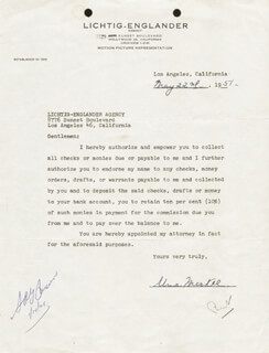 UNA MERKEL - DOCUMENT SIGNED 05/22/1951