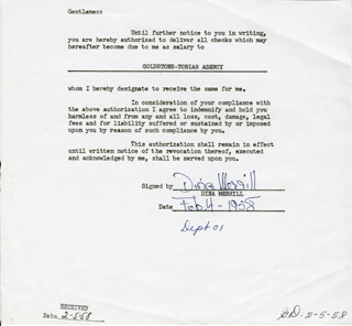 DINA MERRILL - DOCUMENT SIGNED 02/04/1958