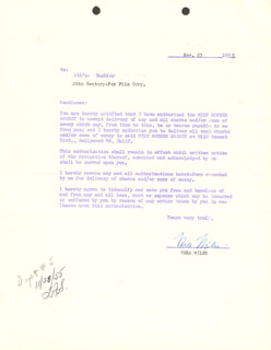 VERA MILES - DOCUMENT SIGNED 11/23/1955