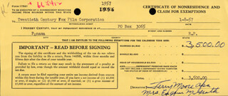 TERRY MOORE - DOCUMENT SIGNED 01/08/1957