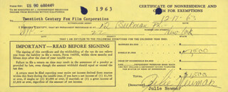 JULIE NEWMAR - DOCUMENT SIGNED 12/17/1963