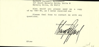 GEORGE PEPPARD - TYPED LETTER FRAGMENT SIGNED