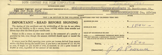 JULIET PROWSE - DOCUMENT SIGNED 01/20/1961