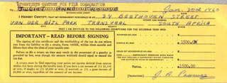 JULIET PROWSE - DOCUMENT SIGNED 01/30/1960