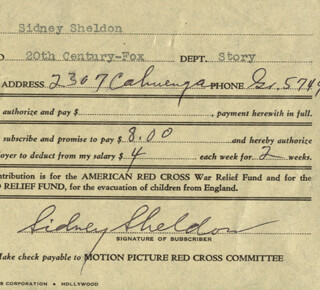 SIDNEY SHELDON - DOCUMENT SIGNED