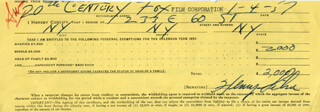 HENRY SILVA - DOCUMENT SIGNED 01/04/1957