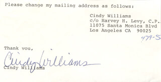 CINDY WILLIAMS - TYPED NOTE SIGNED