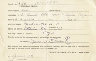 JANE WITHERS - DOCUMENT SIGNED 06/14/1937
