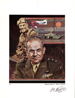 BRIGADIER GENERAL JAMES H. JIMMY DOOLITTLE - PRINTED ART SIGNED IN INK