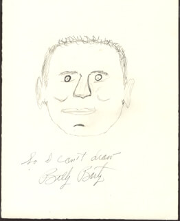BILLY BARTY - SELF-CARICATURE SIGNED