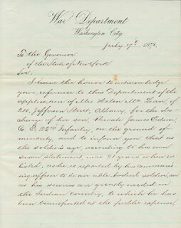 MAJOR GENERAL WILLIAM W. BELKNAP - MANUSCRIPT LETTER SIGNED 07/07/1870