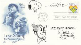 CHARLES M. SCHULZ - ORIGINAL ART ON FIRST DAY COVER SIGNED CO-SIGNED BY: DEAN YOUNG