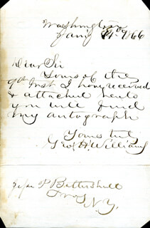 GEORGE H. WILLIAMS - AUTOGRAPH LETTER SIGNED 01/14/1866