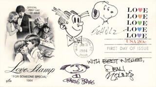 CHARLES M. SCHULZ - FIRST DAY COVER SIGNED CO-SIGNED BY: DEAN YOUNG, CHARLES BRAGG