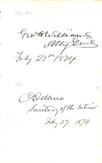 GEORGE H. WILLIAMS - AUTOGRAPH 02/27/1874 CO-SIGNED BY: COLUMBUS DELANO