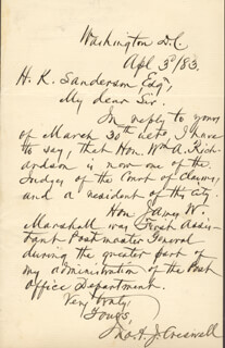 JOHN A.J. CRESWELL - AUTOGRAPH LETTER SIGNED 04/03/1883