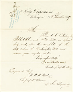 GEORGE M. ROBESON - MANUSCRIPT LETTER SIGNED 12/11/1873