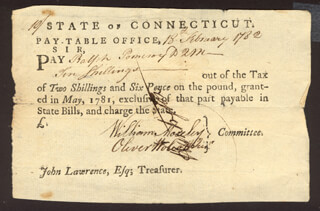 Autographs: OLIVER WOLCOTT JR. - PROMISSORY NOTE SIGNED 02/18/1782 CO-SIGNED BY: WILLIAM MOSELEY, GENERAL JEDIDIAH HUNTINGTON