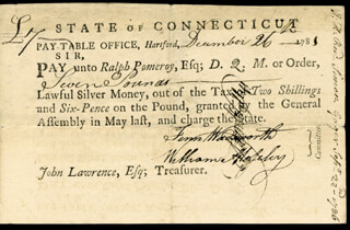Autographs: CONNECTICUT REVOLUTIONARY WAR - PROMISSORY NOTE SIGNED 12/26/1781 CO-SIGNED BY: WILLIAM MOSELEY, FENN WADSWORTH, RALPH POMEROY, SAMUEL WYLLYS
