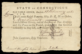 Autographs: CONNECTICUT REVOLUTIONARY WAR - PROMISSORY NOTE SIGNED 02/18/1782 CO-SIGNED BY: WILLIAM MOSELEY, FENN WADSWORTH, RALPH POMEROY, SAMUEL WYLLYS