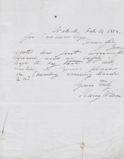 VICE PRESIDENT HENRY WILSON - AUTOGRAPH LETTER SIGNED 02/21/1854
