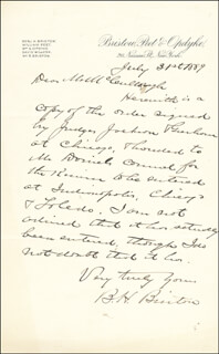 BENJAMIN H. BRISTOW - AUTOGRAPH LETTER SIGNED 07/31/1889