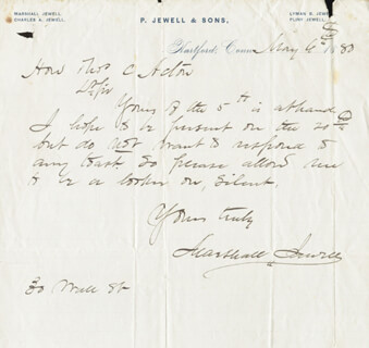 Autographs: MARSHALL JEWELL - AUTOGRAPH LETTER SIGNED 05/06/1880