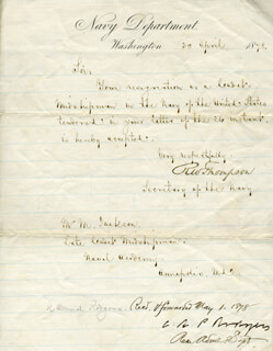RICHARD W. THOMPSON - MANUSCRIPT LETTER SIGNED 04/30/1878 CO-SIGNED BY: REAR ADMIRAL C. R. P. RODGERS