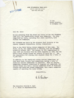 ADMIRAL HYMAN G. RICKOVER - TYPED LETTER SIGNED 11/14/1966
