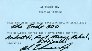 Autographs: AL UNSER JR. - QUESTIONNAIRE SIGNED