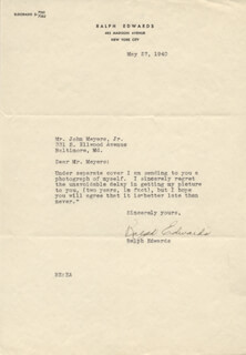 RALPH EDWARDS - TYPED LETTER SIGNED 05/27/1940