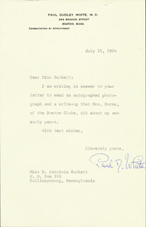 PAUL DUDLEY WHITE - TYPED LETTER SIGNED 07/15/1964