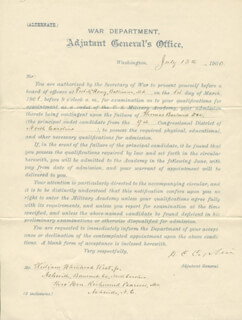 Autographs: LT. GENERAL HENRY C. CORBIN - DOCUMENT SIGNED 07/13/1900