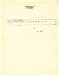 EDGAR LEE MASTERS - TYPED LETTER SIGNED 11/02/1939