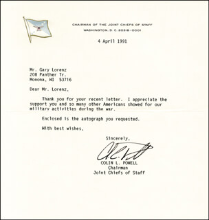 Autographs: GENERAL COLIN L. POWELL - TYPED LETTER SIGNED 04/04/1991