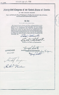 Autographs: PRESIDENT RICHARD M. NIXON - TYPESCRIPT SIGNED CIRCA 1974 CO-SIGNED BY: HUGH D. SCOTT JR., CARL B. ALBERT