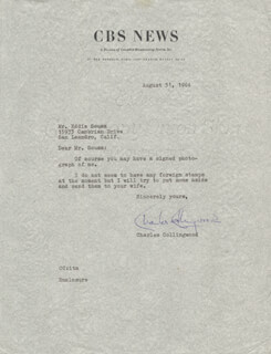 CHARLES COLLINGWOOD - TYPED LETTER SIGNED 08/31/1964
