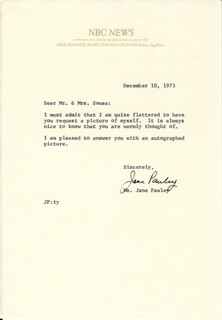 JANE PAULEY - TYPED LETTER SIGNED 12/10/1975