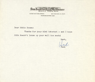 HERB CAEN - TYPED LETTER SIGNED