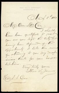 THOMAS L. JAMES - MANUSCRIPT LETTER SIGNED 03/08/1881
