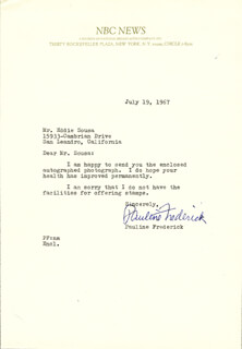 PAULINE FREDERICK ROBBINS - TYPED LETTER SIGNED 07/19/1967