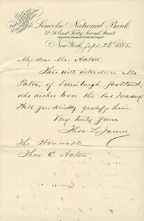 THOMAS L. JAMES - AUTOGRAPH LETTER SIGNED 09/28/1885
